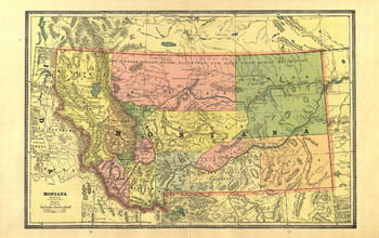 Map Of Montana From 1885 Cram Atlas P74-75