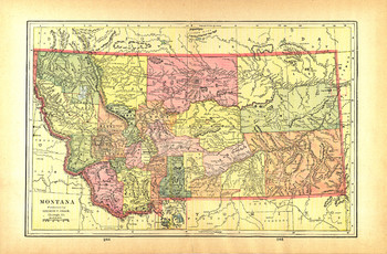 Map Of Montana From 1901 Cram Atlas P244-245