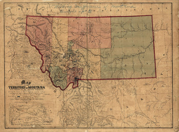1865 Map of Montana