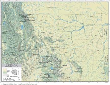 Natural Earth Map of Montana Region