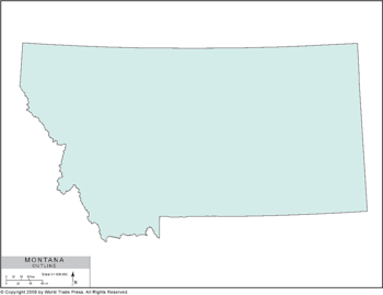 Simple Outline Map of Montana in Color