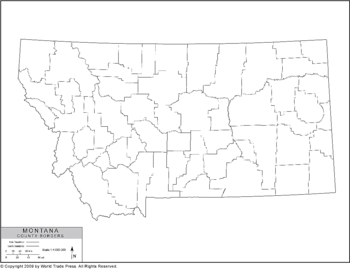 Outline Map of Montana with County Borders