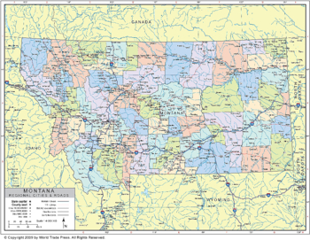 <p>Political Outline Map of Montana with County Data (Pol10)</p>