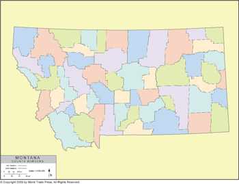 Outline Map of Montana with County Borders in Color
