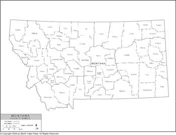 <p>Political Outline Map of Montana with County Borders (Pol3)</p>