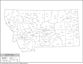 Political Outline Map of Montana with County Data (Pol5)