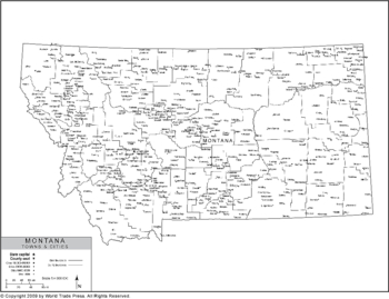 Political Outline Map of Montana with County Data (Pol7)
