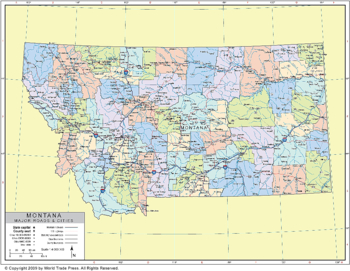 <p>Political Outline Map of Montana with County Data (Pol8)</p>