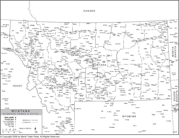 Political Outline Map of Montana with County Data (Pol9)