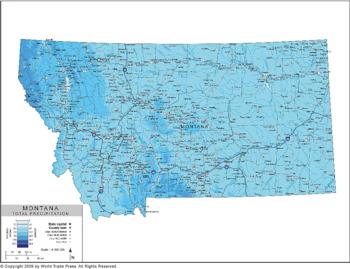 Annual Precipitation Map of Montana