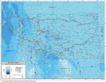 Annual Precipitation Map of Montana Region