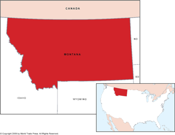 U.S. State of Montana Map with Inset of Location in Country