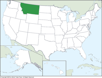 U.S. State of Montana Map Inset into United States Map